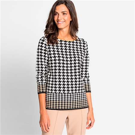 Olsen Cotton Mix Houndstooth Print Jumper  - Click to view a larger image