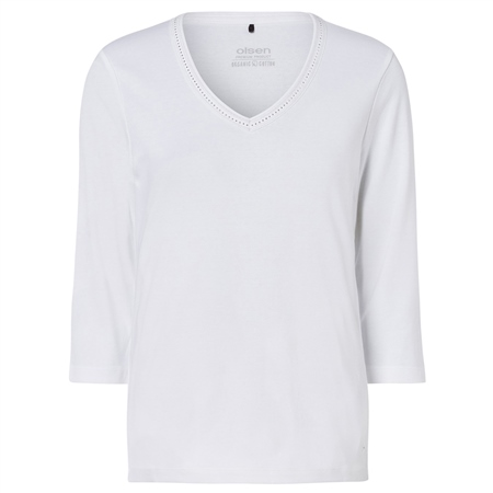 Olsen 100% Cotton Embellished Long Sleeve T-Shirt - White