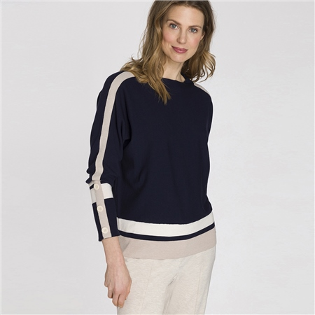 Olsen Contrast Stripe Button Detail Jumper  - Click to view a larger image