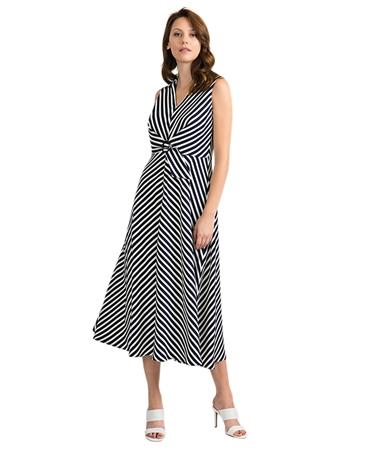Joseph Ribkoff Striped V-Neck Collar Dress