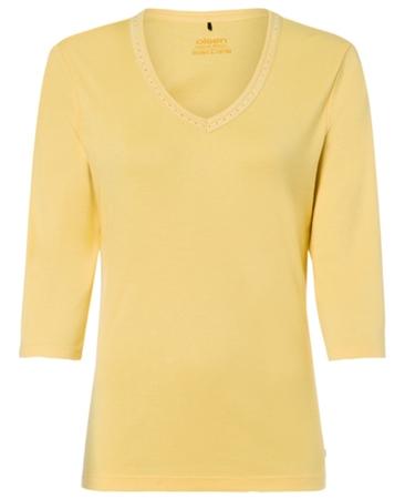 Olsen Embellished V-Neck Cotton T-Shirt - Yellow