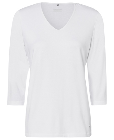 Olsen V-Neck 3/4 Sleeve T-Shirt - White