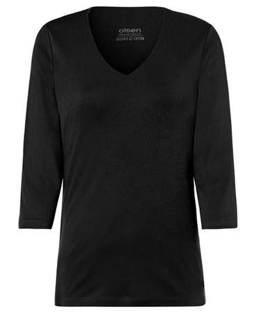 Olsen V-Neck 3/4 Sleeve T-Shirt - Black