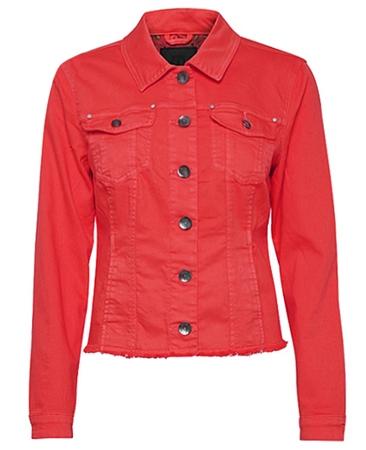Pulz Cotton Denim Look Jacket - Tomato Puree