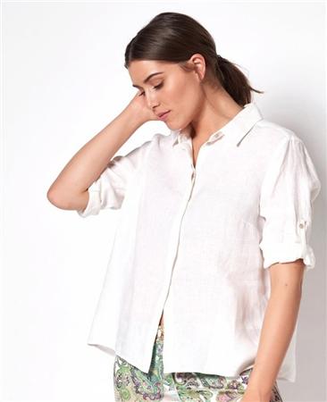 Toni 'Clay' 100% Linen Blouse - White