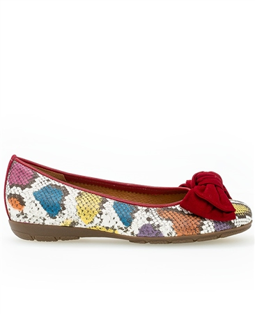 Gabor Snake Print Pumps With Bow - Red