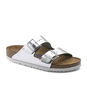 Birkenstock 'Arizona' Metallic Sandals - Silver