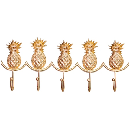 Bombay Duck Pineapple Hooks Row Of 5 - Gold  - Click to view a larger image