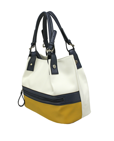 Envy Bags Colour Block Adjustable Handle Hobo Bag - Mustard
