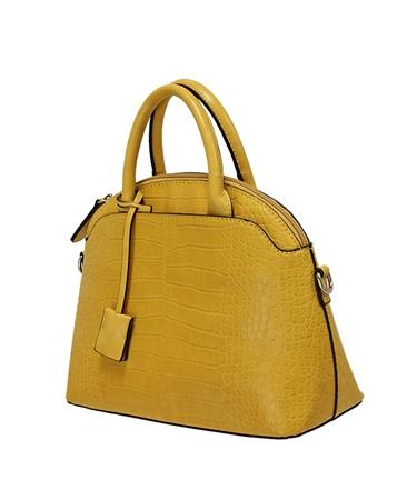 Envy Bags Crocodile Detachable Strap Bowler Bag - Mustard