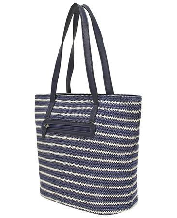 Envy Bags Clover' Twin Strap Weave Shoulder Bag - Navy Stripe