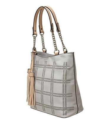 Envy Bags Lasercut Pattern Tassel Shoulder Bag - Grey