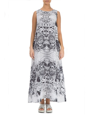 Grizas 100% Linen Abstract Print Sleevless Maxi Dress