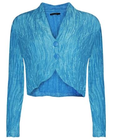 Grizas Linen/Silk Mix Crinkle Bolero - Ocean Blue