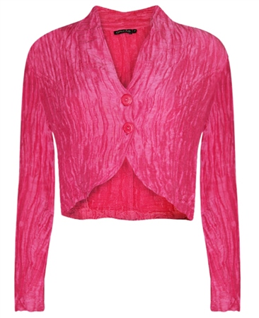 Grizas Linen/Silk Mix Crinkle Bolero - Hot Pink