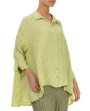 Grizas Silk/Linen Mix Crinkle Loose Shirt - Lime