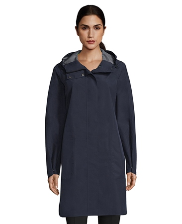 Betty Barclay Reflective Stripe Hooded Rain Coat  - Deep Navy  - Click to view a larger image