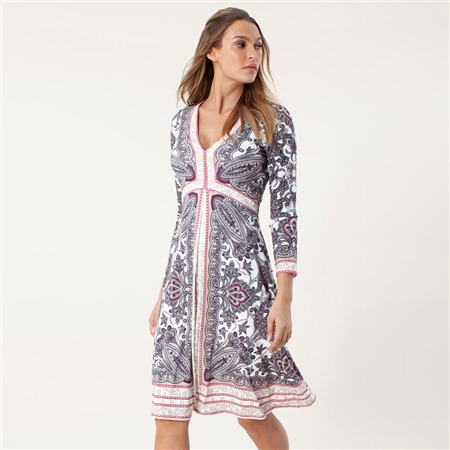 Hale Bob 'Evelyn' Paisley Print Jersey Dress - Ivory  - Click to view a larger image
