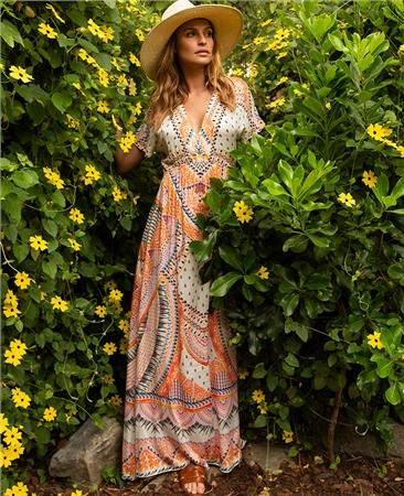 Hale Bob 'Quinn' Empire Waist Printed Maxi Dress