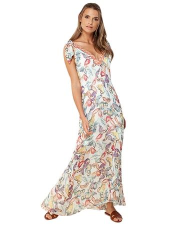 Hale Bob 'Valeria' Beaded Neckline Butterfly Maxi Dress