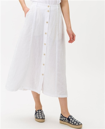 Brax 'Kelly' 100% Linen Button Through A-Line Midi Skirt - White 1