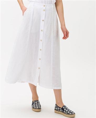 Brax 'Kelly' 100% Linen Button Through A-Line Midi Skirt - White