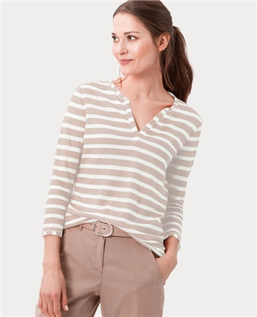 Brax 'Claire' 100% Cotton Notch Neck Striped Top - Sand  - Click to view a larger image