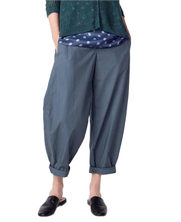 Oska 'Matia' 100% Cotton Cropped Wide-Leg Trousers - River