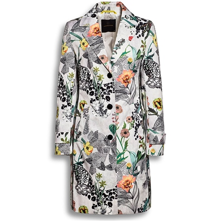 Creenstone 'Hibiscus' Floral Print Coat