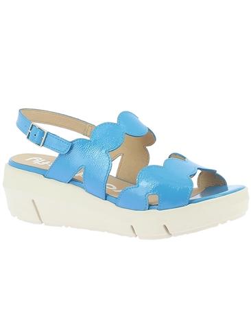 Wonders Patent Wavy-Straps Wedged Sandals - Pool Blue
