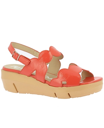 Wonders Patent Wavy-Straps Wedged Sandals - Coral