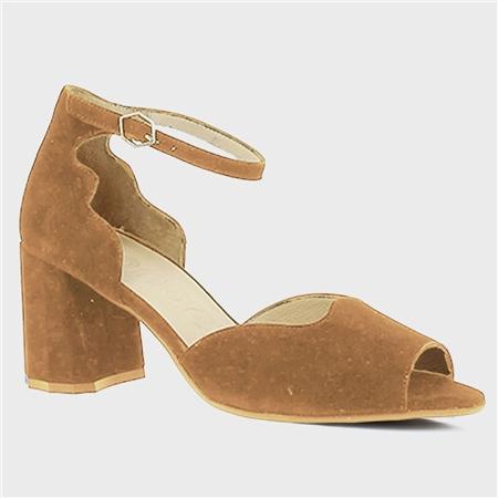 Wonders Scallop Edge Suede Block Heel Sandals - Sand