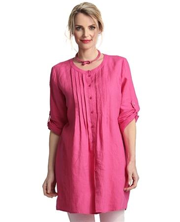 Erfo Pintuck 100% Linen Tunic - Pink