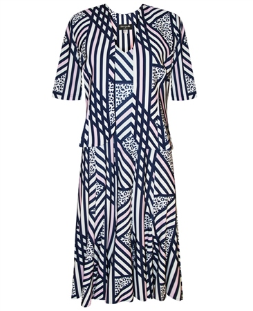Georgede Abstract Stripe Dress And Jacket Twinset