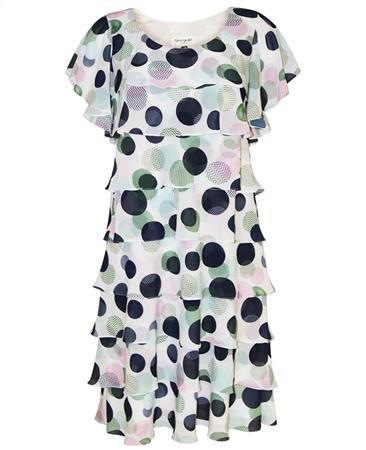 Georgede Polka Dot Tiered Dress