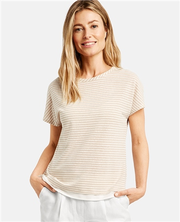 Gerry Weber Linen Blend Striped 2-In-1 Style Top