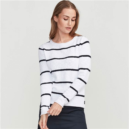 Holebrook 'Ima' 100% Cotton Boatneck Striped Jumper - White  - Click to view a larger image