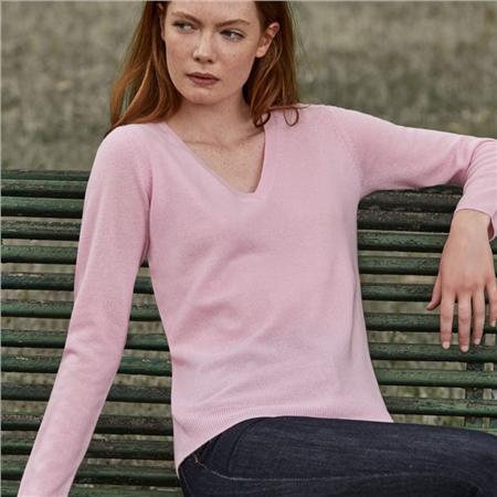 Leo & Ugo 100% Cashmere V-Neck Jumper - Pink  - Click to view a larger image