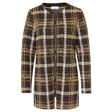Just White Cotton Mix Checked Coat