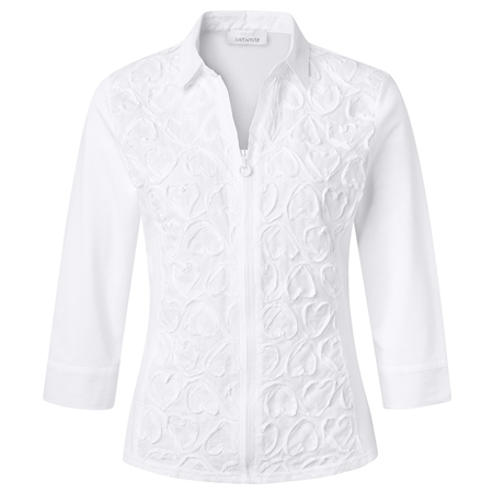 Just White Cotton Mix Embroidered Zip Blouse