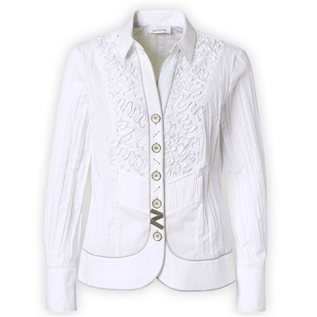Just White Embroidered Detail Blouse