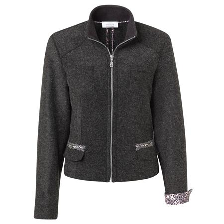 Just White Wool Blend Zip Up Jacket