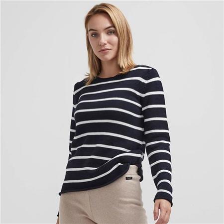 Holebrook 'Astrid' 100% Cotton Crewneck Striped Jumper - Navy