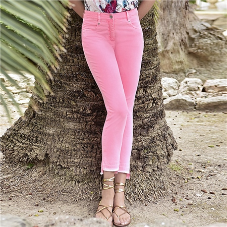 Robell 'Elena' 68cm Frayed Cuff Jeans - Neon Pink