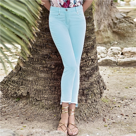 Robell 'Elena' 68cm Frayed Cuff Jeans - Turquoise