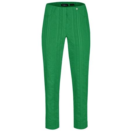Robell 'Bella' 68cm Seersucker Cropped Trousers - Green