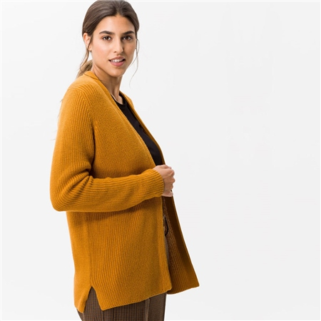 Brax 'Anique' Edge To Edge Ribbed Cardigan - Butternut  - Click to view a larger image
