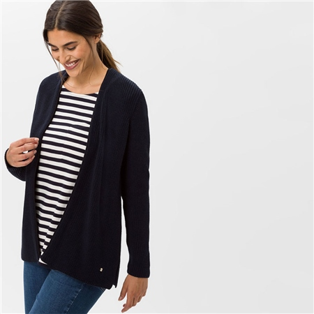 Brax 'Anique' Edge To Edge Ribbed Cardigan - Navy  - Click to view a larger image