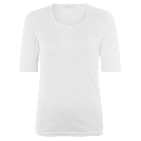 Olsen 100% Cotton Embellished Short Sleeve T-Shirt - White  - Click to view a larger image