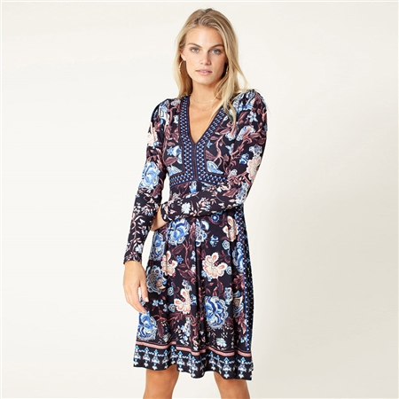 Hale Bob 'Whitney' Floral Print Jersey Dress - Black  - Click to view a larger image